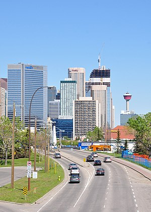 Bow Trail - Eastbound into Downtown Calgary