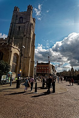 Cambridge - King's Parade - View South on St Mary the Great Church & King's College Gatehouse.jpg
