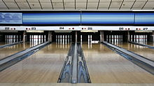 Candlepin lanes at a bowling alley in Woburn, Massachusetts
