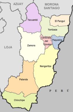 Cantons de la province de Zamora Chinchipe