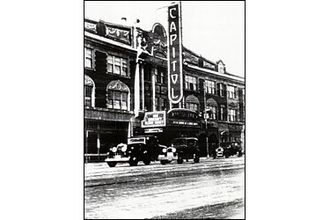 Capitol Theater Building - Image of the Arlington, MA Capitol Theater circa 1930 with original blade sign