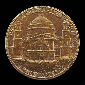 1506 medal by Cristoforo Foppa depicting Bramante's design, including the four flanking smaller domes Caradosso Foppa, View of Saint Peter's (reverse), 1506, NGA 44669.jpg