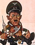 Caricature of Adolf Hitler detail, Arthur Szyk (1894-1951). Fool the Axis Use Prophylaxis poster (1942), Philadelphia (cropped).jpg