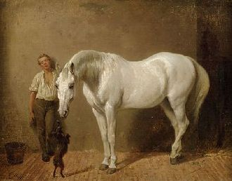 Carl Steffeck - White Horse, Boy and Dog (date unknown)