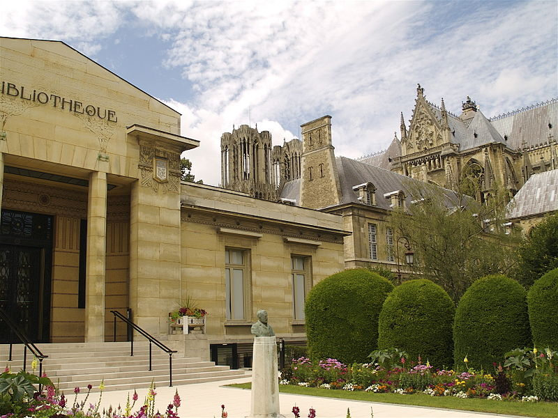 Carnegie Library and the Cathedral of Reims.jpg
