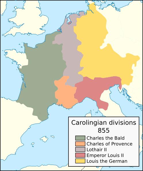 Carolingian territorial divisions, 855