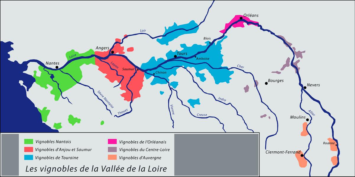Carte vignoble vallee de la loire