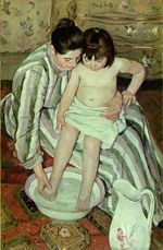 Mary Cassatt, The Bath 1891-1892, Art Institute of Chicago, while painted in Europe, Cassatt is considered an American painter