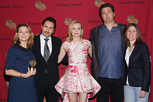 The Bridge (U.S. TV series) - Series co-creators Meredith Stiehm and Elwood Reid with cast members Diane Kruger and Demián Bichir at the 73rd Annual Peabody Awards.