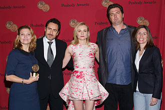 The Bridge (2013 TV series) - Series co-creators Meredith Stiehm and Elwood Reid with cast members Diane Kruger and Demián Bichir at the 73rd Annual Peabody Awards.