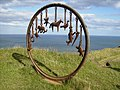 Cast iron sculpture created from a mining winding wheel - geograph.org.uk - 250987.jpg