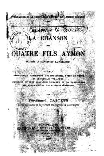 File:Castets - La Chanson des quatre fils Aymon, 1909.djvu
