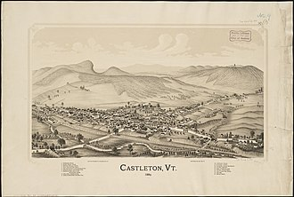 Castleton, Vermont - Print of Castleton from 1889 by L.R. Burleigh with listing of landmarks