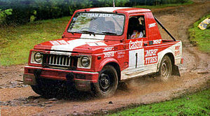 Indian National Rally Championship - N. Leelakrishnan and Farooq Ahmed in a Group A(II) IND Maruti Gypsy during the 1993 Castrol South India Rally
