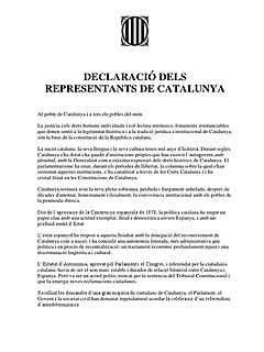 Internationally unrecognised October 2017 announcement by which the Parliament of Catalonia unilaterally declared the independence of Catalonia from Spain