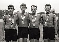 Cencio Mantovani, Luigi Roncaglia, Franco Testa, Carlo Rancati 1964.jpg