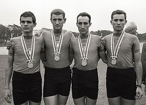 Luigi Roncaglia - Roncaglia (2nd from left) at the 1964 Olympics