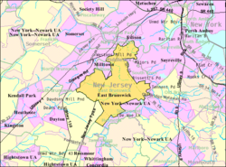 Census Bureau map of East Brunswick, New Jersey