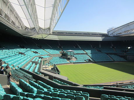 Centre Court at Wimbledon. First played in 1877, the Championships is the oldest tennis tournament in the world. Centre Court, 28 March 2012.jpg