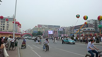 Haicheng, Liaoning - Downtown Haicheng on 20 July 2008