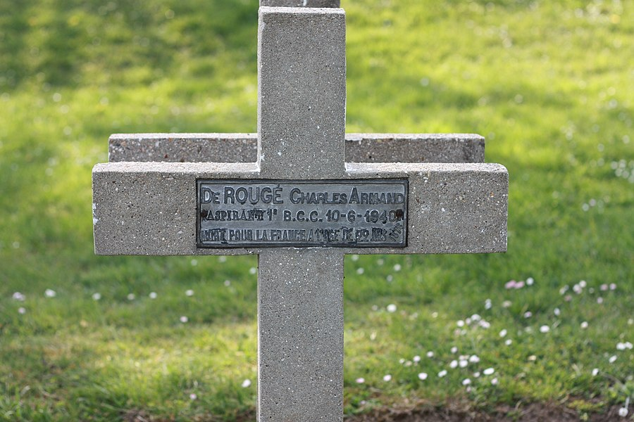 Aspirant Charles Armand de Rougé tombstone in Château-Thierry, Aisne, France.