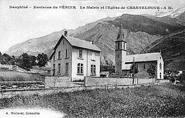 The church and town hall at the start of the 20th century