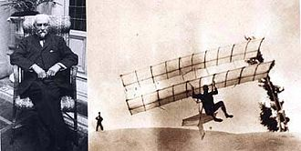 Octave Chanute - Chanute and his 1896 biplane hang glider, a trailblazing design adapted by the Wright brothers