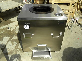 Tandoor - Charcoal-fired stainless-steel tandoor, with ash tray and thermometer