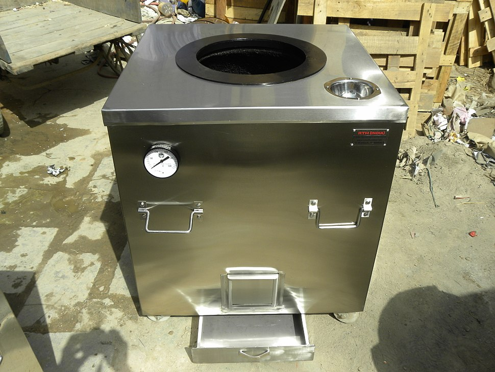 Charcoal Fired S.Steel Body Tandoor, with ash tray %26 temp. meter.JPG