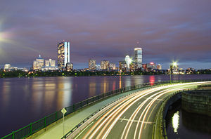 Charles River - View of the Charles River, Memorial Drive (foreground), and the Back Bay skyline at night
