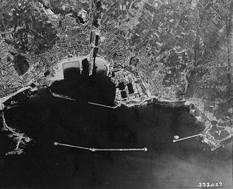 Battle of Cherbourg - An aerial photograph of Cherbourg taken in 1944