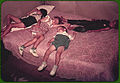 Children asleep on bed during square dance. McIntosh County, Oklahoma, 1939 or 1940.jpg