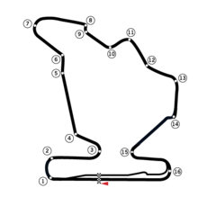 A track map of the Hungaroring circuit. The track has 16 corners, which range in sharpness from hairpins to gentle, sweeping turns. There are two long straights that link the corners together. The pit lane splits off from the track on the inside of Turn 16, and rejoins the track after the start-finish straight.
