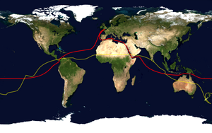 Circumnavigation - The route of a typical modern sailing circumnavigation, via the Suez Canal and the Panama Canal is shown in red; its antipodes are shown in yellow.