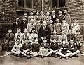 Class photo, teacher, label, year label Fortepan 94588.jpg