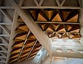 Concrete structures and acoustic baffles in roof of Nave