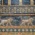 Close-up of Ishtar Gate tiles, Pergamon Museum.jpg