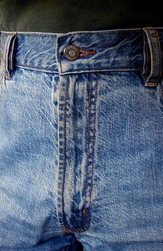 Fly (clothing) - Closed fly on a pair of jeans. The topstitching on a fly will often, as here, be bar tacked.
