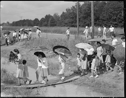 Closing of the Jerome Relocation Center, Denson, Arkansas. The train for Granada has just departed . . . - NARA - 539695.jpg