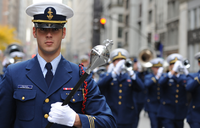 The U.S. Coast Guard Band shown marching in downtown New York.