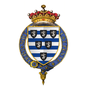Thomas Cecil, 1st Earl of Exeter - Arms of Sir Thomas Cecil, 1st Earl of Exeter, KG - Barry of ten argent and azure over all six escutcheons sable, three, two, and one, each charged with a lion rampant of the first.