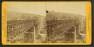 High Bridge (Coatesville, Pennsylvania) - Stereoscopic view of earlier Coatesville Bridge