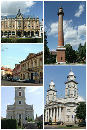 Satu Mare - Left to right: Dacia Hotel, Firemen's Tower, Vécsey Palace (art museum), Chain Church, Roman Catholic Cathedral