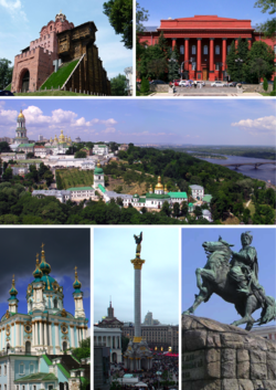 From upper left: Golden Gate, Red University Building, Kiev Pechersk Lavra, St Andrew's Church, Berehynia on Maidan Nezalezhnosti and statue of Bohdan Khmelnytsky