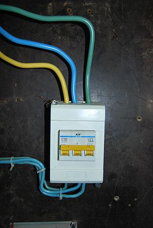 English: Main circuit breaker installed very n...