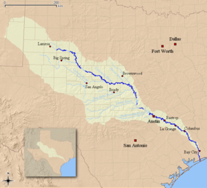 Colorado River Texas Wikipedia - Texas rivers and lakes map