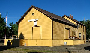 National Register of Historic Places listings in Sherman County, Oregon - Image: Columbia Southern Railroad depot Wasco Oregon