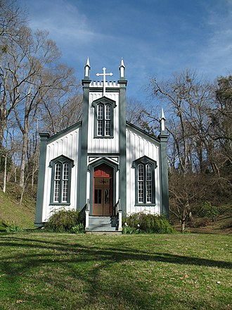 Rodney, Mississippi - Confederate Memorial Chapel, formerly Rodney Sacred Heart Catholic Church, which was moved to Grand Gulf Military State Park from Rodney in 1983