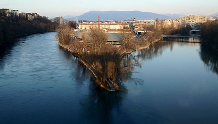 Confluence of the Rhone and the Arve Confluence Rhone et Arve.JPG