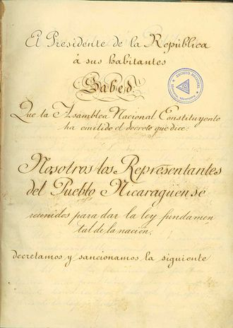 Ignacio Chávez (President of Nicaragua) - 1893 Constitution 1 of 4 pages scanned